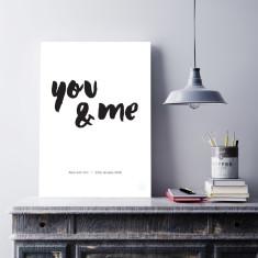 Personalised wedding you and me art print