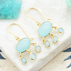 Baby jellyfish drops with aqua chalcedony