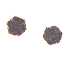 Small Drusy Hexagon Stud Earrings