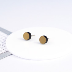 Mini Acrylic circle studs - brushed gold and black