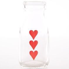 Printed mini milk bottles love design (6 bottles)