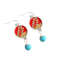 Sterling Silver, turquoise and Japanese chiyogami earrings in vine