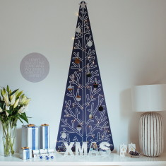 Mayfair Christmas tree wall decal with lights & decorations