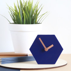 Geo desk clock in navy blue with bronze hands