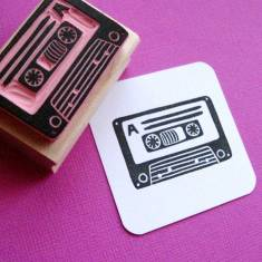 Retro cassette rubber stamp