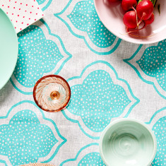 Lanterns linen tablecloth in aqua