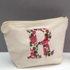Personalised Liberty print applique make-up bag