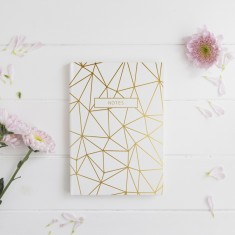 Geometric 'Notes' Gold Foil Notebook
