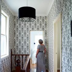 Flannel flower damask wallpaper in black on white