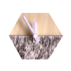 Hexagon desk clock in cowhide (various patterns)