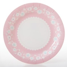 Daisy chain paper plates in pink (2 packs of 10)