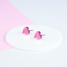 Mini Acrylic love heart studs - pink mirror