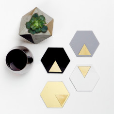 Geo coasters in black, gold, white & grey (set of 4)