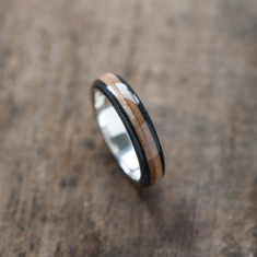 Recycled skateboards silver ring