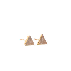 Mini Drusy Natural Triangle Stud Earrings