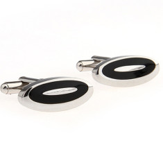 Steel and black enamel oval cufflinks