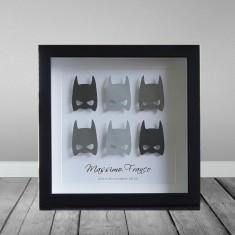 Personalised superhero batman paper framed art work