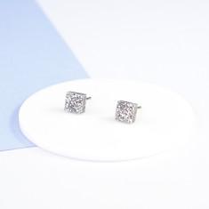 Mini Acrylic square studs - chunky silver glitter
