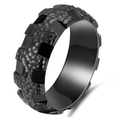Personalised Hammered Gear Black Zirconium Ring