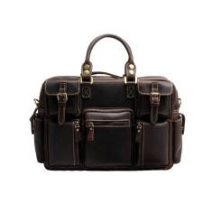 Leather laptop bag briefcase in dark brown
