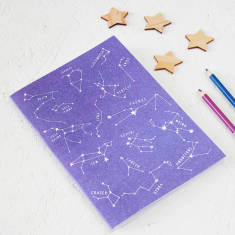 Star constellations notebook in purple
