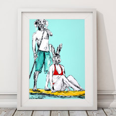 He was paddling fast to the secluded beach because he couldn't wait to kiss her print