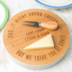 Personalised Engraved Dad's Solid Wood Cheese Block