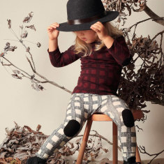 Herringbone baby check pants with knee patch