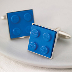 Building brick cufflinks in blue
