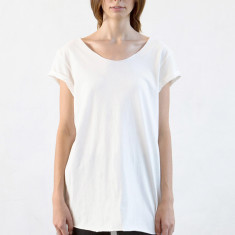 Women's raw rolled sleeve long tee in natural
