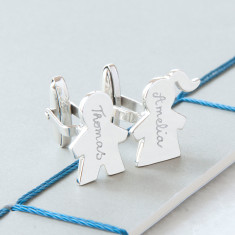 Men's personalised sterling silver people cufflinks