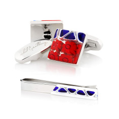 Papaveri Cufflinks & Tie Bar Gift Set