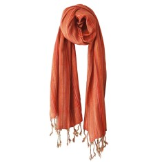Multi-striped scarf in tangerine