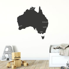 c6877b6c0c1 Reusable chalkboard map of Australia wall decal