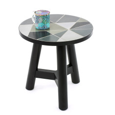 Mosaic Side Table Timber – Linear (45cmD)