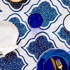 Lanterns linen tablecloth in navy blue