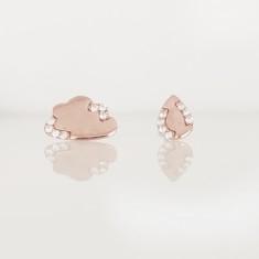 Cloud & rain drop stud earring 18k rose gold vermeil