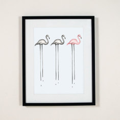 Flamingo trio wall art print