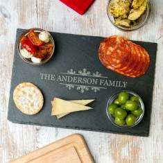 Personalised Snowflake Family Slate Chopping Board
