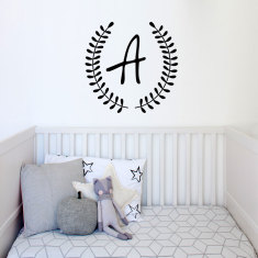 Monogram wreath wall decal (various colours)