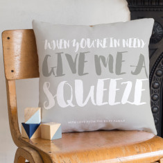Personalised 'Gimme A Squeeze' Faux Suede Cushion