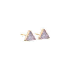 Mini Drusy Light Grey Triangle Stud Earrings