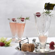 Set of six vintage style etched glass prosecco glasses