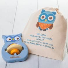 Personalised Owl Teething Ring Toy In Personalised Bag