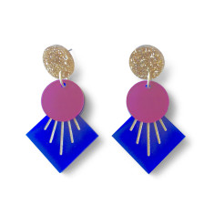 Deco drop earrings - Navy blue, plum and gold