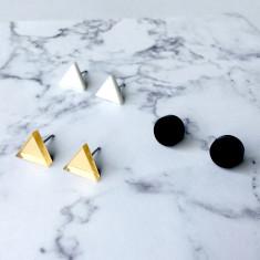 GEO - Earring studs triple pack - navy, blush pink, silver glitter
