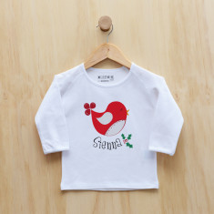 Personalised Christmas Birdy longsleeve t-shirt
