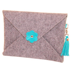 iPad mini iPad Air felt clutch purse with turquoise leather tassel