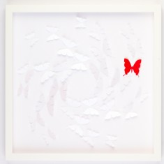 White with 1 red freedom design framed artwork