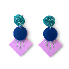 Deco drop earrings - Purple, navy blue, silver and teal glitter
